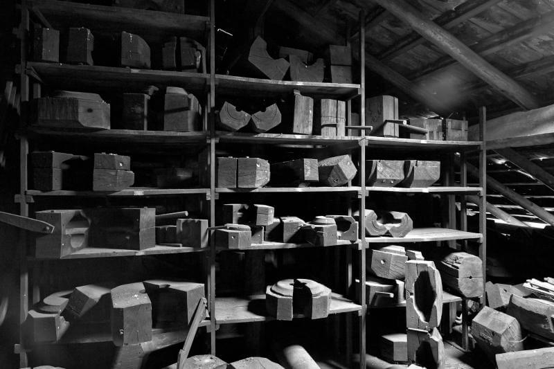 shelves of molds, each with an inspirational name — Harcourt, Beauvais — ready as to be used for a new perfect creation.