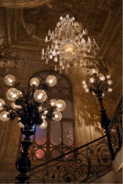Baccarat chandeliers.