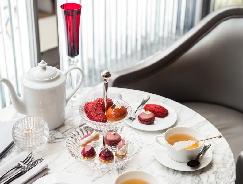 A table set for afternoon tea at Baccarat Hotel