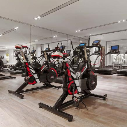 Elliptical machines in the fitness room at Baccarat hotel