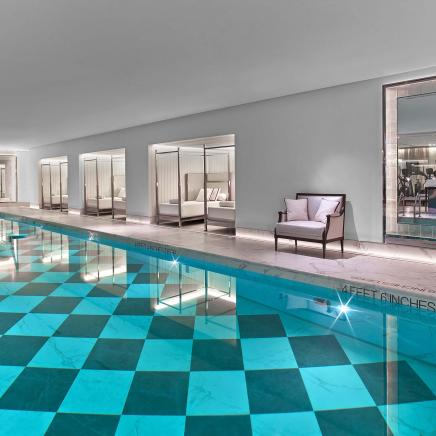 An indoor swimming pool at Baccarat hotel