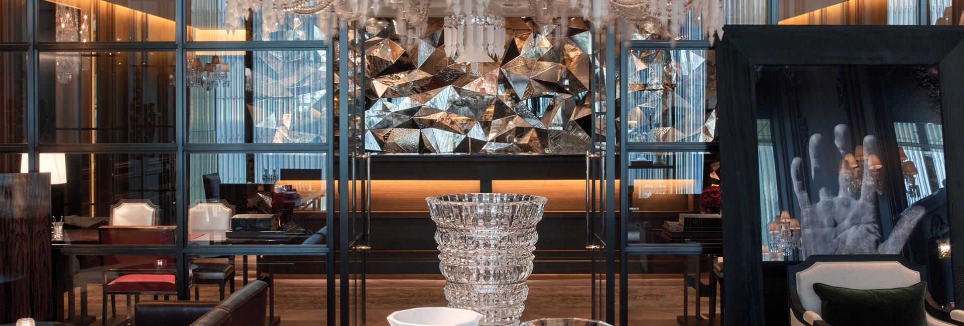 A crystal chandelier at Baccarat hotel