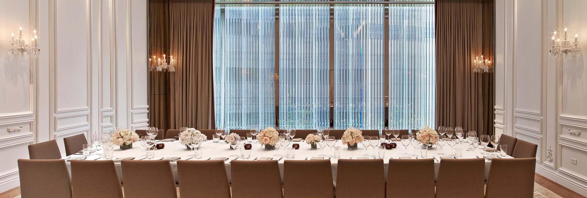 A long table in a meeting room at the Baccarat hotel