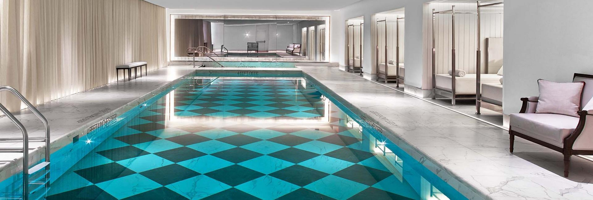 The interior swimming pool at Baccarat Hotel